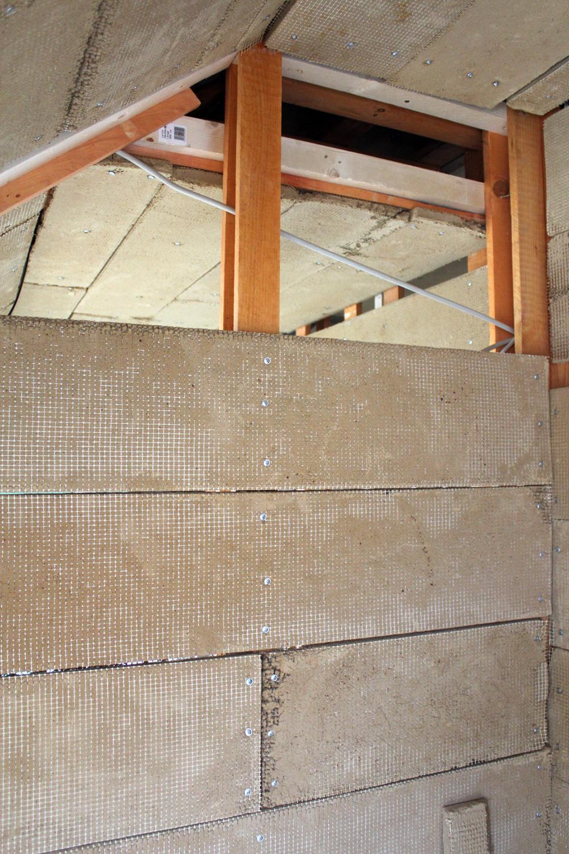 Holzständerwerk mit Lehmbauplatten